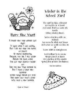 Winter Poems: Happy New Year & Winter in the School Yard
