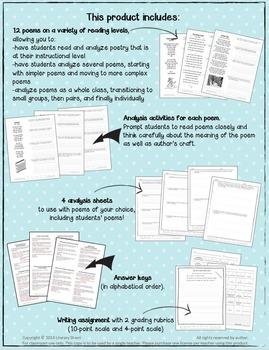 Winter Poems: Poetry Analysis (Grades 6, 7, 8)
