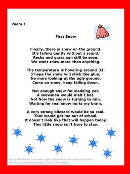 Winter Poems Printables