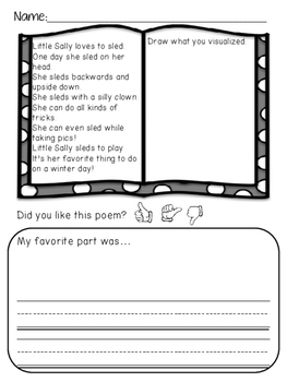 Winter Poems: Visualizing No-Prep Worksheets