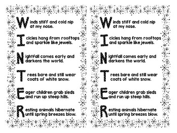 Winter Poetry An Acrostic Poem Writing Activity