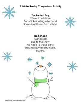 Winter Poetry Comparison Activity