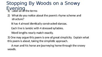 Winter Poetry Questions with Answers on PowerPoint