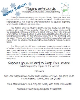 Winter Poetry-Word Choice & Imagery Lesson-January & February