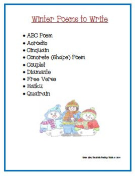 Poetry Writing - Winter Acrostic, Cinquain, Couplets, Diamante, Haiku and More
