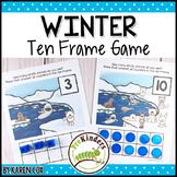 Winter Polar Animals Ten Frame Game   Pre-K + K Math