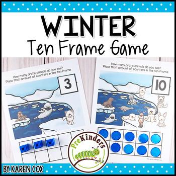 Winter Polar Animals Ten Frame Game | Pre-K + K Math