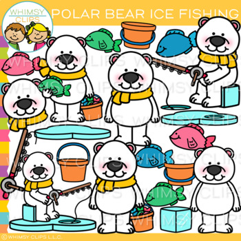 Polar Bear Ice Fishing Clip Art
