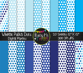 Winter Polka Dots on White Digital Papers {Commercial Use Digital Graphics}