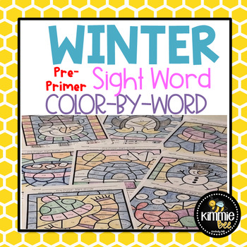 Winter Pre-Primer Sight Word Color-By-Word Worksheets