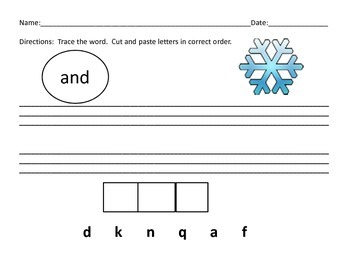Winter Pre-Primer Sight Word Packet