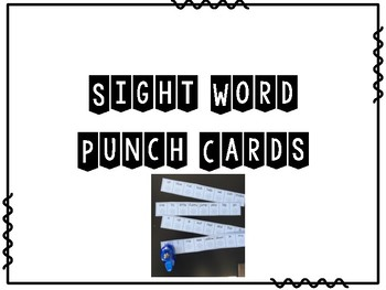 Winter Pre Primer Sight Word Punch Cards