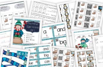 Winter Pre-Primer Sight Words Centers, Games, QR Codes, iPad, SMART Notebook