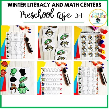 Winter PreK Math and Literacy Centers and Fine Motor Activities Age 3+