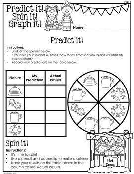 Winter: Predict it! Spin it! Graph it! Graphing & Probability -3rd Grade