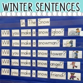 Winter and Christmas Predictable Sight Word Sentence Pocket Charts (10 Charts)