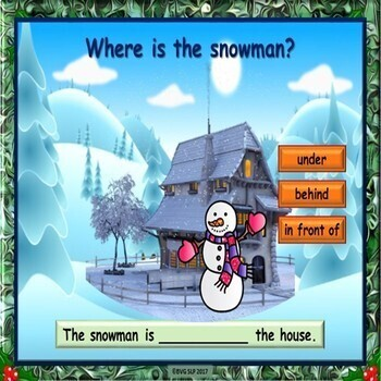 Winter Prepositions, Pronouns, Following Directions BOOM CARDS - Teletherapy