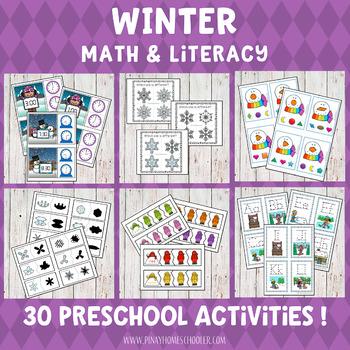 Winter Preschool Unit - Math and Literacy Centers