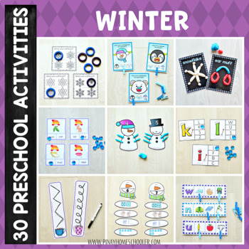 Winter Preschool Unit - Math and Literacy Centers