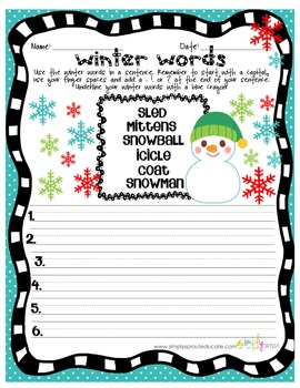 Winter Primary Common Core Printables Kit