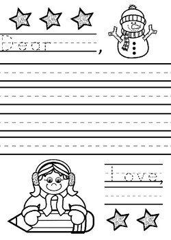 Winter Primary Lined Letter Template