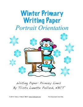 Winter Writing Paper: Primary (Portrait Orientation)
