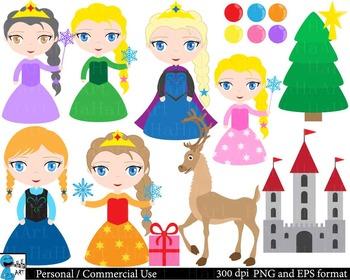Winter Princess - Set Clipart - Digital Clip Art Graphics