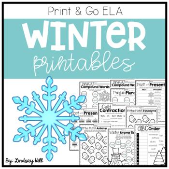 Winter Print & Go ELA Printables