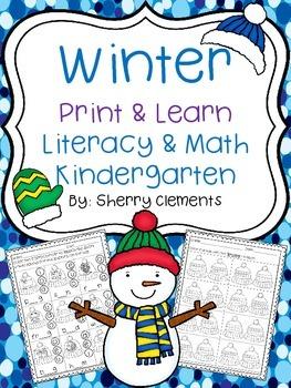 Winter Print & Learn - Literacy & Math  - Kindergarten