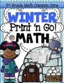 Winter Print 'N Go! 2nd Grade Math (NO PREP) Common Core Aligned