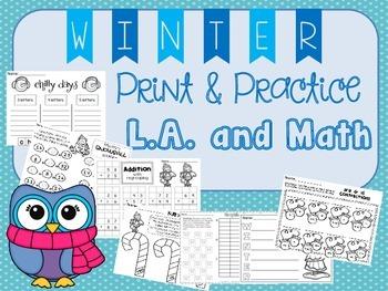 Winter Print & Practice BUNDLE - 2nd Grade Language Arts & Math Activities