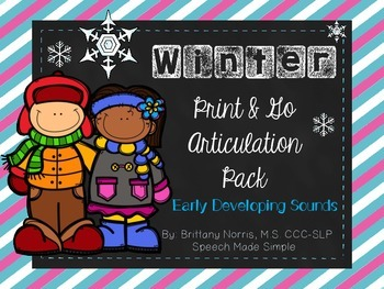 Winter Print and Go Articulation Pack Early Developing Sounds