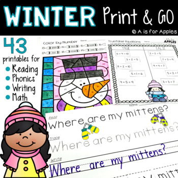 Winter Print and Go {ELA and Math}