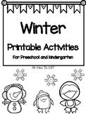 Winter Printable Activities for Preschool and Kindergarten