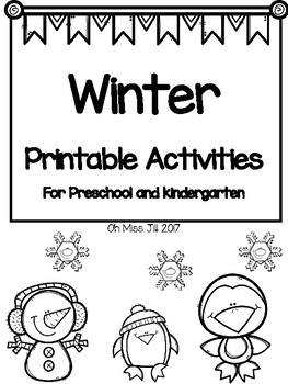 Winter Printable Activities for Preschool and Kindergarten