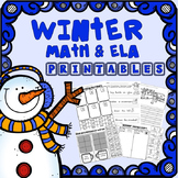 Kindergarten Math and ELA Winter Worksheets