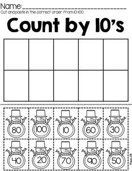 Kindergarten Math and ELA Winter Worksheets