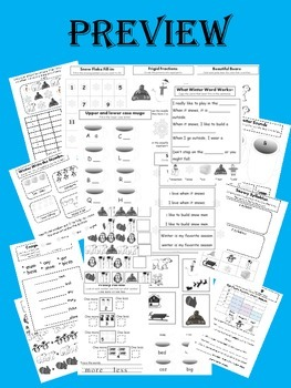 Winter Printables- Kindergarten Language Arts and Math