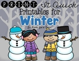 Winter Printables {Literacy and Math}