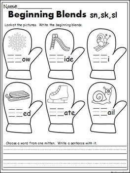 Winter Math And ELA Printables - 1st Grade