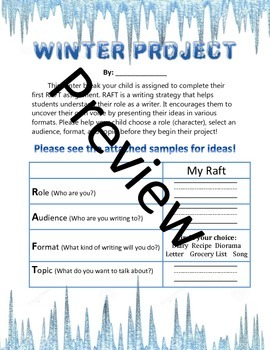 Winter Project- RAFT (role, audience, format, topic)