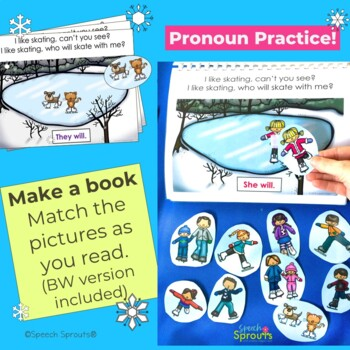 Winter Pronouns: I Like Ice Skating Reader and Speech Therapy Activities