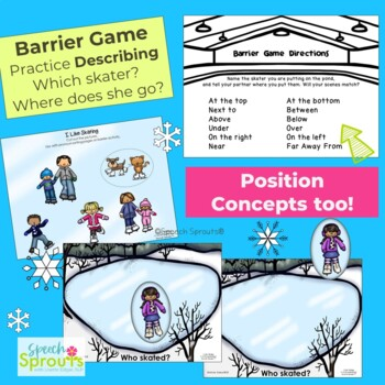 Pronouns Reader with Winter Speech Therapy Activities: I Like Skating
