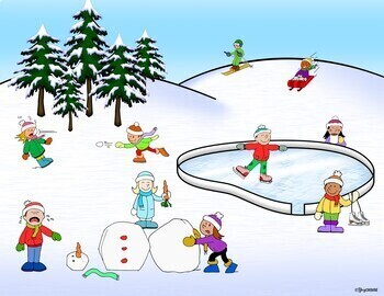 Winter Scene and Activities: Pronouns, Verbs, & Conjunctions