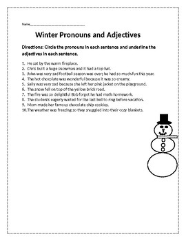 Winter Pronouns and Adjectives
