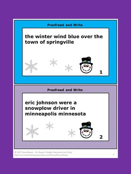 Winter Proofread and Write Writing Activity
