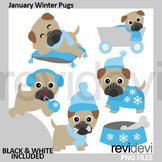Winter Pugs Clipart. January Clip Art