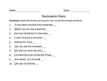 Winter Punctuation Marks