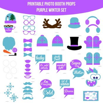 Winter Purple Printable Photo Booth Prop Set
