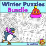 Winter Puzzle Activities Bundle - Crosswords, Word Searche